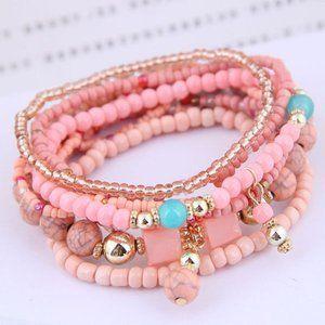 3/$20 New Pink & Gold Beaded Bracelet Set
